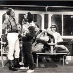 Luciano Capponi, Pino Ammendola e Daniele Aldrovandi in una scena della trasmissione Polvere di Pitone, RaiTre 1983