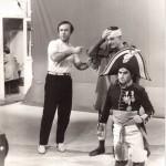 Luciano Capponi con Pino Ammendola e Sergio Malatesta durante la regia della trasmissione Stranieri d'Italia, RaiTre 1981