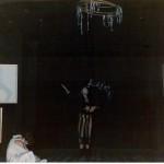 Luciano Capponi sulla scena dello spettacolo Anton Vaudeville Checov, 1976