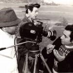 Luciano Capponi con Pino Ammendola durante le riprese del film Se una notte a Monte Cocuzzo, RaiTre 1982